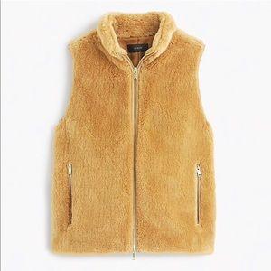 J Crew Plush Fleece Excursion Vest Faux Fur